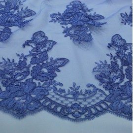 Дантела тюл бродерия - виолетово синьо