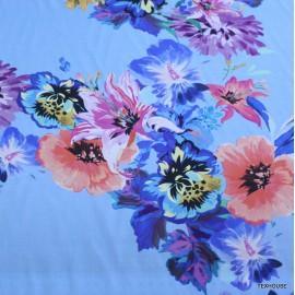 Памук с коприна цветя син фон