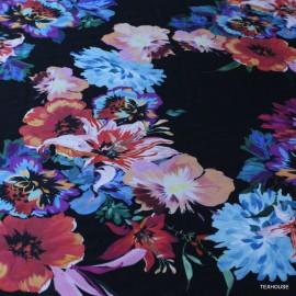 Памук с коприна цветя черен фон