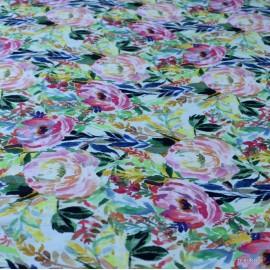 Памук с коприна рози зелен фон