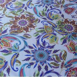 Памук с коприна цветна щампа